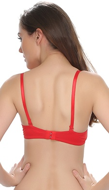 Push Up Bra In Red With Detachable Straps & Funky Design