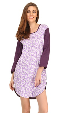 Cotton Comfy Nightdress In Dark Purple