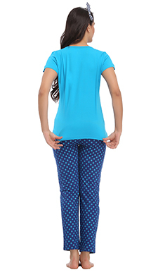 Cotton Graphic T-Shirt & FulL Length Pyjama - Blue