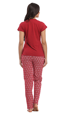 Cotton Graphic T-shirt & Full Length Printed Pyjama - Maroon