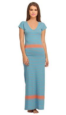 Cotton Long Skin Fit V-neck Nighty - Blue