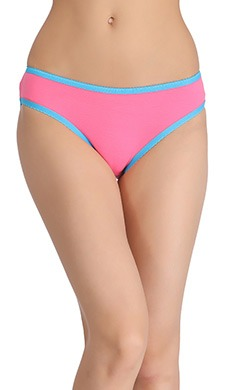 Cotton Mid-Waist Bikini With Contrast Elastic Trim - Pink