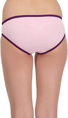 Cotton Mid Waist Bikini With Contrast Trimmed Elastic - Pink