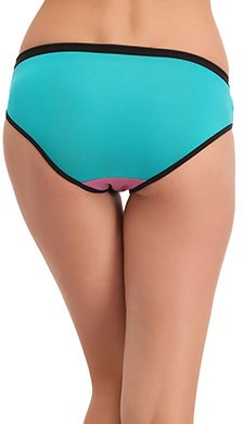 Cotton Mid Waist Colour Block Bikini - Green