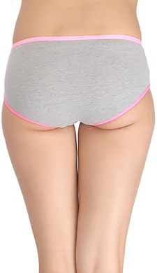 Cotton Mid Waist Hipster With Contrast Elastic Bands - Grey