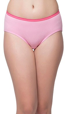 Cotton Mid Waist Hipster With Shiny Elastic Waist Band - Pink
