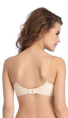 Cotton Non-Padded Non-Wired Demi Cup Bra with Detachable Straps - Skin