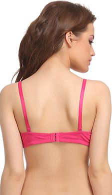 Cotton Padded T-Shirt Bra In Pink With Detachable Straps