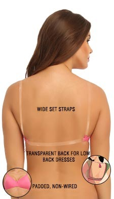 Cotton Padded Wirefree Bra With Detachable Straps & Transparent Back Band - Pink