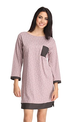 Cotton Printed Nightie in Full Sleeves - Purple