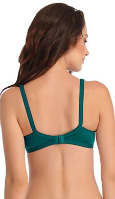 Cotton Rich Non-Padded Full Support Bra - Green