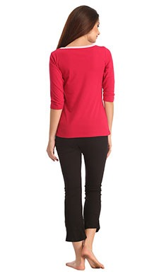 Cotton Round Neck Top With Black Leggings