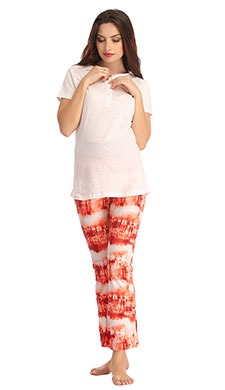 Cotton White T-Shirt With Flared Printed Pyjama