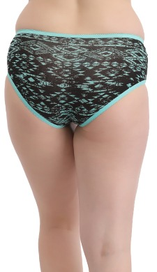 High Waist Printed Hipster With Lacy Side Wings - Green