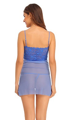Lace & Powernet Babydoll With Matching Thong & Raw Edges - Blue