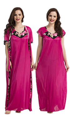 Long Satin Robe And Nightdress With Floral Black Print