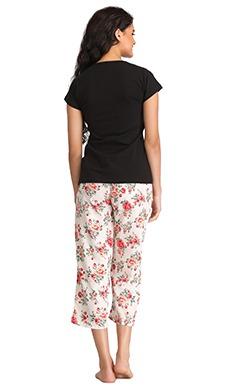 Cotton Graphic Print Top & Capri Set - Black