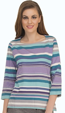Colourful Stripe T-Shirt With Square Neckline