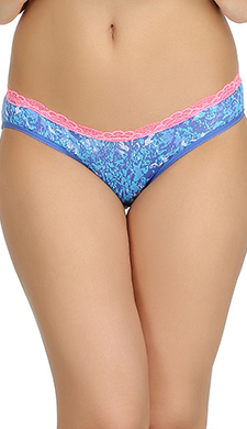 Printed Mid Waist Bikini With Contrast Lace - Blue