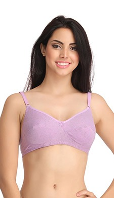 Cotton Non-Padded Non-Wired Full Cup Bra - Purple