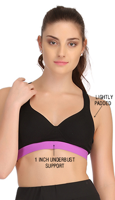Cotton Padded Sports Bra In Black With Lavender Broad Elastic