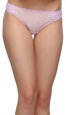 Polyamide & Lace Thong With Low Waist In Light Pink