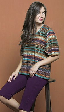 Printed Bell Sleeve Top & Cotton Solid Yoga Capri - Wine