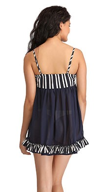 Printed Cups Frilled Babydoll - Blue