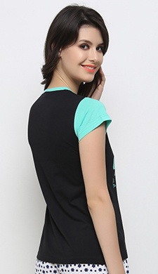 Printed Cute T-Shirt In Black