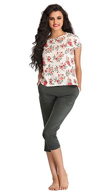 Printed Top & Cotton Capri Set - Green