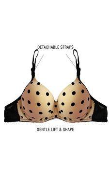 Push Up Demi Cup T-shirt Bra With Detachable Straps - Beige
