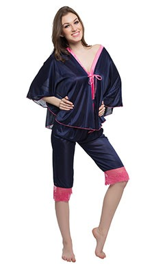Satin Kaftan Top & Lacy Capri Set - Blue
