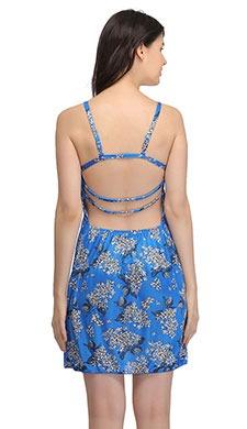 Satin Printed String Back babydoll - Blue
