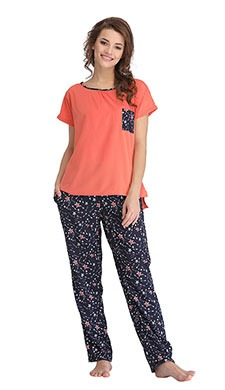 Set Of Printed Pyjama & T-Shirt - Blue