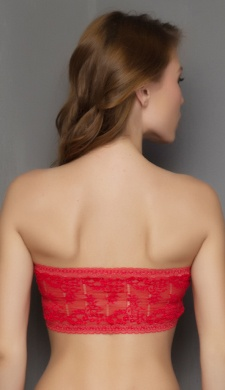 Sheer Stretchable Lace Tube Bra In Red