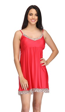 Short Babydoll with Contrast Lace - Red