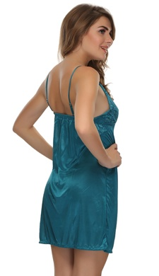 Short Nightie & Robe Set In Teal Green - 2 Pcs