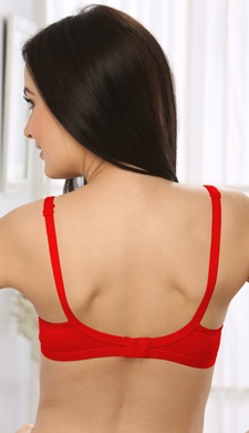 Cotton Non-Padded Moulded T-shirt Bra In Red
