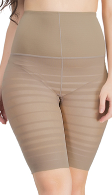 Waist Cincher In Nude With Striped Thigh Shaper