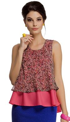Layered Sleeveless Chiffon Crepe Top in Reddish Pink