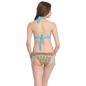 2 Pc Polyamide Swimsuit of Padded Bra & Printed Brief In Turquoise