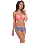 2 Pc Polyamide Swimsuit of Padded Bra & Printed Hipster In Pink