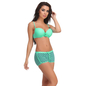 2 Pc Polyamide Swimsuit of Padded Bra & Printed Hipster In Turquoise