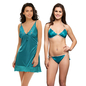 3 Pc Nightwear Set In Sea Green