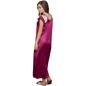 2 Pcs Printed Satin Nightwear In Wine - Robe & Nightie