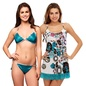 3 Pcs Set Of Bra, Panty And Night Slip in Turquoise
