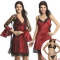 4 Pc Nightwear Set In Maroon