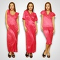 4 Pcs Satin Nightwear In Reddish Pink - Robe, Nightie, Top, Capri