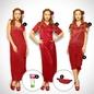 4 Pcs Satin Nightwear In Wine - Robe, Nightie, Top, Capri