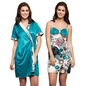 2 Pc Set Of Printed Short Nighty , Robe - Turquoise
